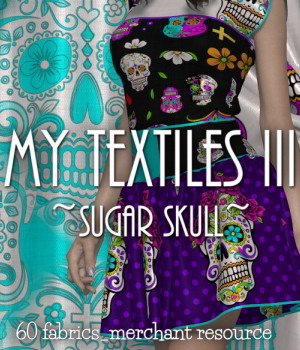 My Textiles III__Sugar Skull_MR 2D Graphics Merchant Resources DivabugDesigns
