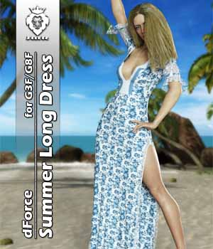JMR dForce Summer Long Dress for G3F and G8F 3D Figure Assets JaMaRe