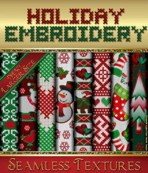 Holiday Embroidery Seamless Textures 2D Graphics Merchant Resources fractalartist01