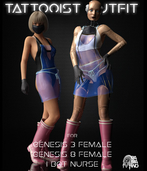 Tattooist Outfit for G3F, G8F, IBot Nurse 3D Figure Assets pamawo