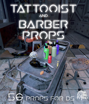 Tattooist and Barber Props DS 3D Figure Assets 3D Models pamawo