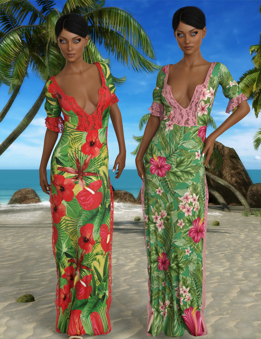 InStyle - JMR dForce Summer Long Dress for G3F and G8F