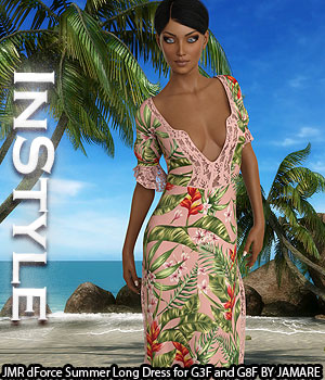 InStyle - JMR dForce Summer Long Dress for G3F and G8F 3D Figure Assets -Valkyrie-