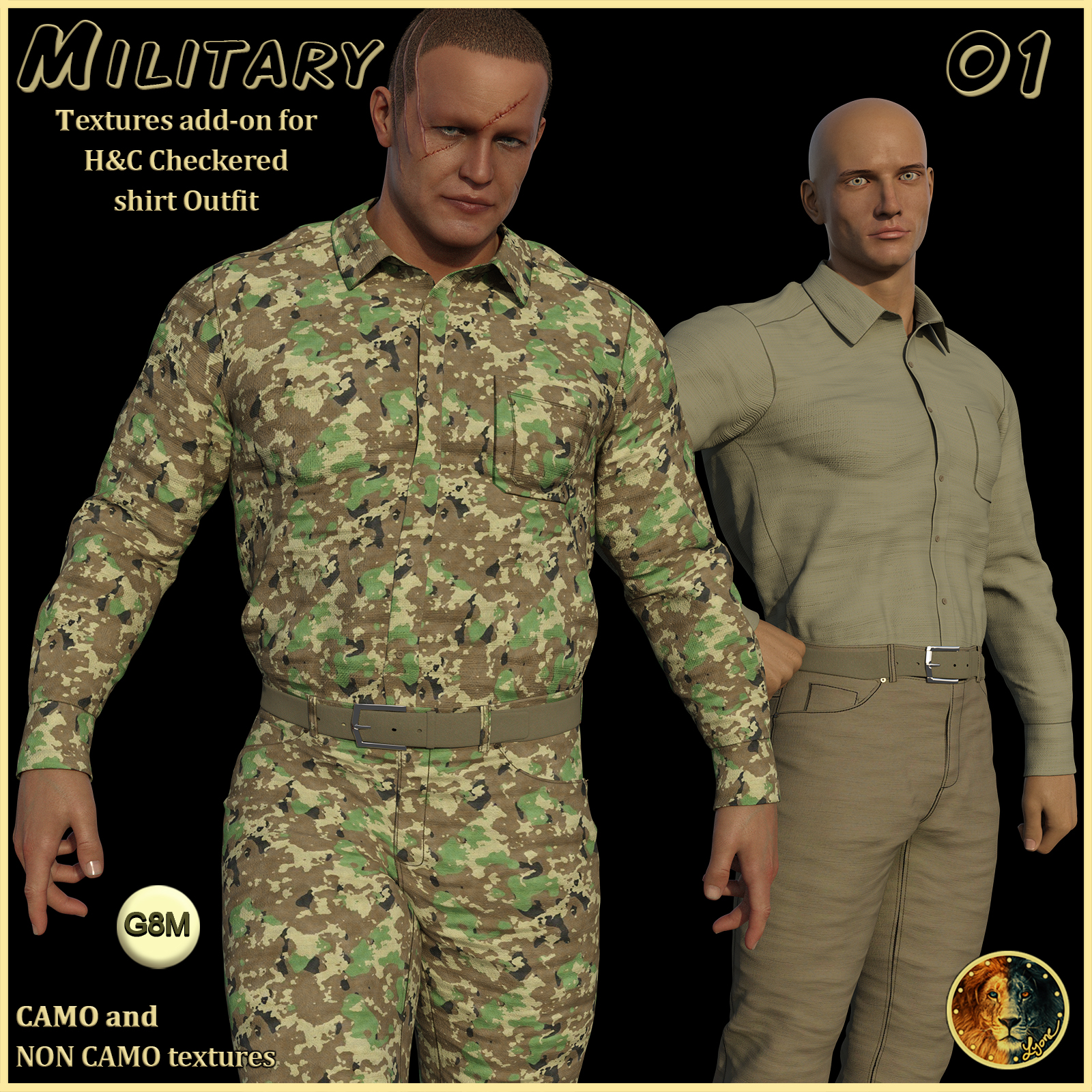 Military 01 for H&C Checkered Shirt Outfit for G8M