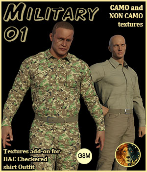 Military 01 for H&C Checkered Shirt Outfit for G8M 3D Figure Assets Lyone