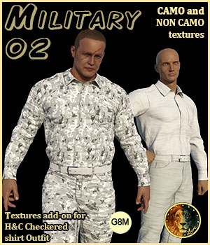 Military 02 for H&C Checkered Shirt Outfit for G8M 3D Figure Assets Lyone