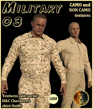 Military 03 for H&C Checkered Shirt Outfit for G8M 3D Figure Assets Lyone