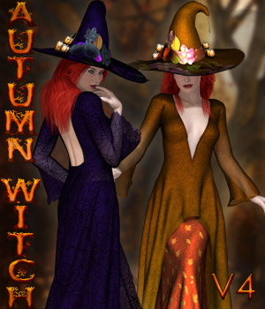 Dynamic Collection - Autumn Witch V4 3D Figure Assets kaleya
