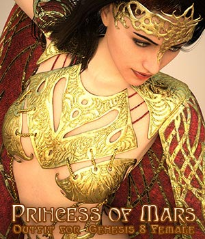 Princess of Mars Outfit for Genesis 8 Female 3D Figure Assets sixus1