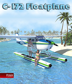 C-172 Floatplane for Poser 3D Models 2nd_World
