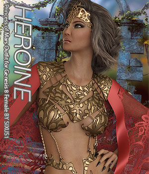 HEROINE - Princess of Mars Outfit for Genesis 8 Female 3D Figure Assets Anagord