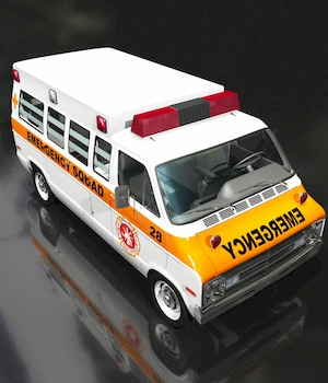 DODGE VAN AMBULANCE OBJ FBX EXTENDED LICENSE 3D Game Models : OBJ : FBX 3D Models Extended Licenses 3DClassics
