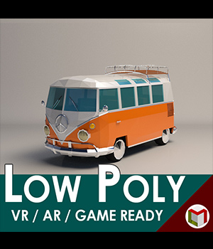 Low-Poly Cartoon Camper Van - Extended License 3D Game Models : OBJ : FBX 3D Models Extended Licenses LinderMedia