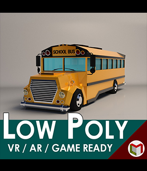 Low-Poly Cartoon School Bus - Extended License 3D Game Models : OBJ : FBX 3D Models Extended Licenses LinderMedia
