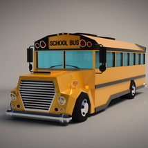 Low-Poly Cartoon School Bus - Extended License image 1