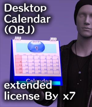 Desktop Calendar(OBJ) extended license By x7 3D Game Models : OBJ : FBX 3D Models Extended Licenses x7