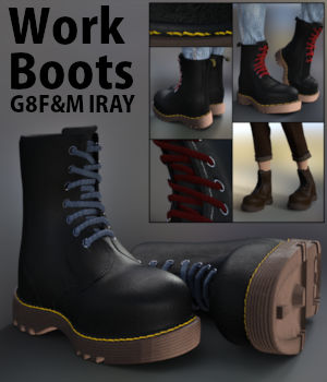 Work Boots for G8F and G8M Iray 3D Figure Assets kalamanko
