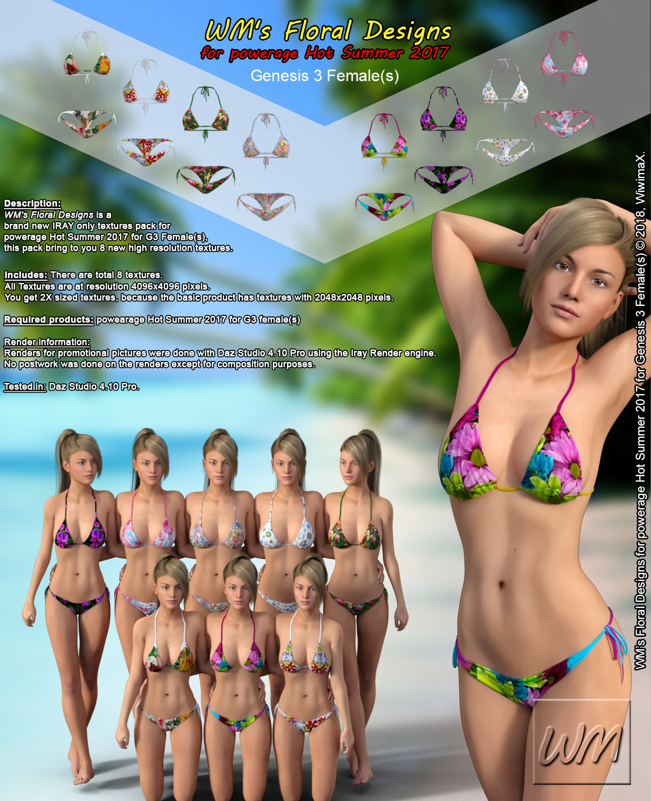 WM's Floral Designs for powerage Hot Summer 2017 for Genesis 3 Females by WiwimaX
