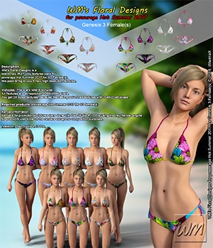 WM's Floral Designs for powerage Hot Summer 2017 for Genesis 3 Females 3D Figure Assets WiwimaX