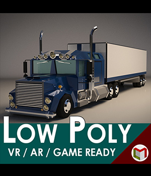 Low-Poly Cartoon Lorry Truck 3D Game Models : OBJ : FBX 3D Models Extended Licenses LinderMedia