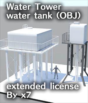 Water Tower water tank (OBJ) extended license By x7 3D Game Models : OBJ : FBX 3D Models Extended Licenses x7