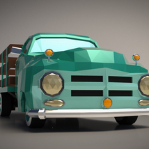 Low-Poly Cartoon Vintage Pickup - Extended License image 5