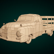Low-Poly Cartoon Vintage Pickup - Extended License image 7