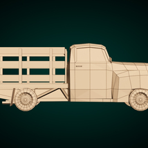 Low-Poly Cartoon Vintage Pickup - Extended License image 9