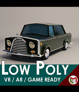Low-Poly Cartoon Limousine Car - Extended License 3D Game Models : OBJ : FBX 3D Models Extended Licenses LinderMedia