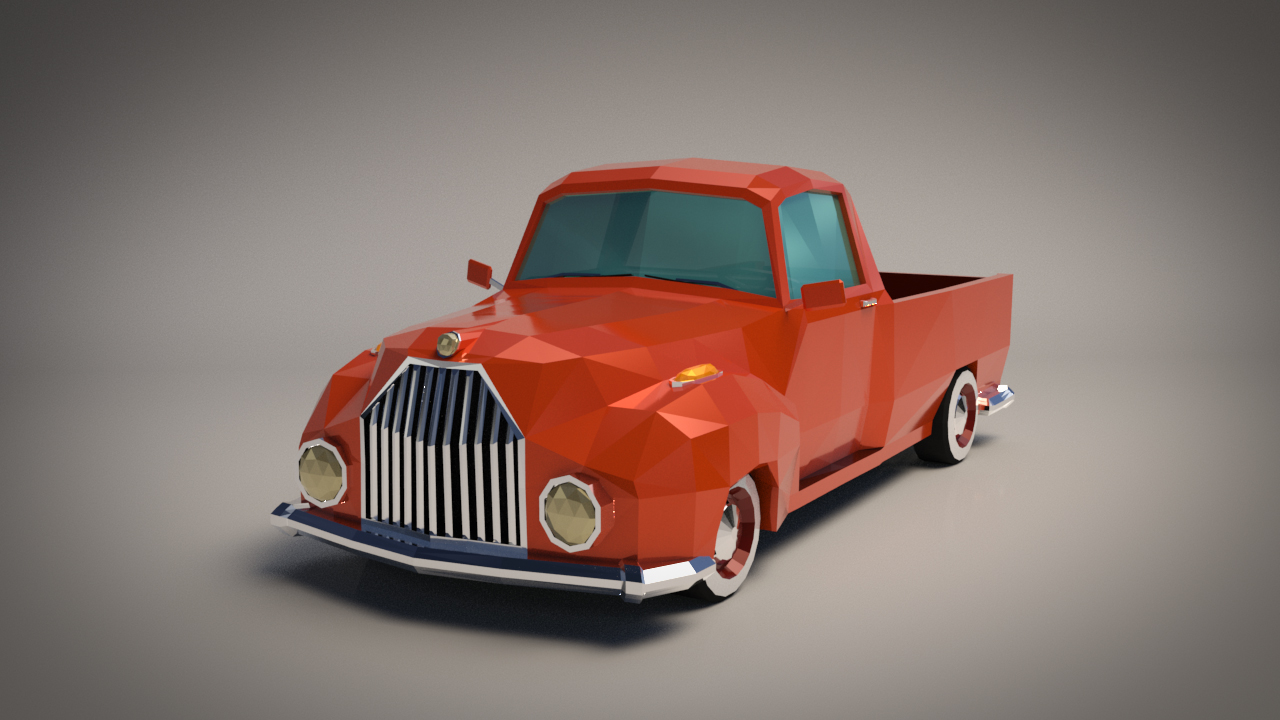 Low-Poly Cartoon Vintage Pickup - Extended License  by LinderMedia