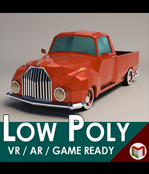 Low-Poly Cartoon Vintage Pickup - Extended License  3D Game Models : OBJ : FBX 3D Models Extended Licenses LinderMedia