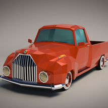 Low-Poly Cartoon Vintage Pickup - Extended License  image 1