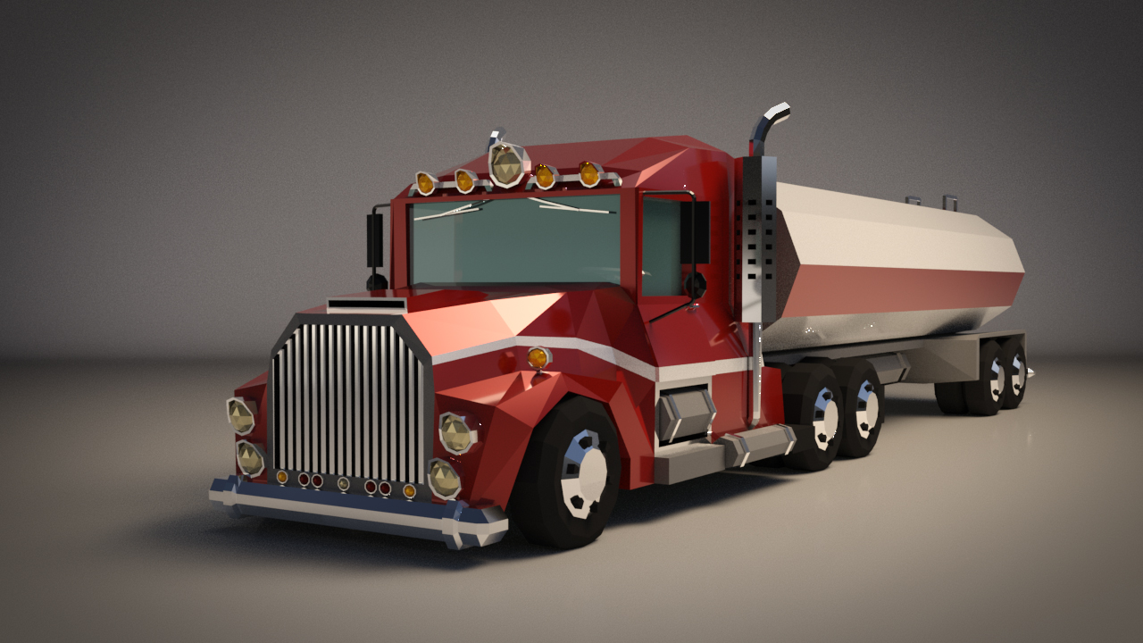 Low-Poly Cartoon Tank Truck - Extended License  by LinderMedia