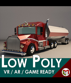 Low-Poly Cartoon Tank Truck - Extended License  3D Game Models : OBJ : FBX 3D Models Extended Licenses LinderMedia