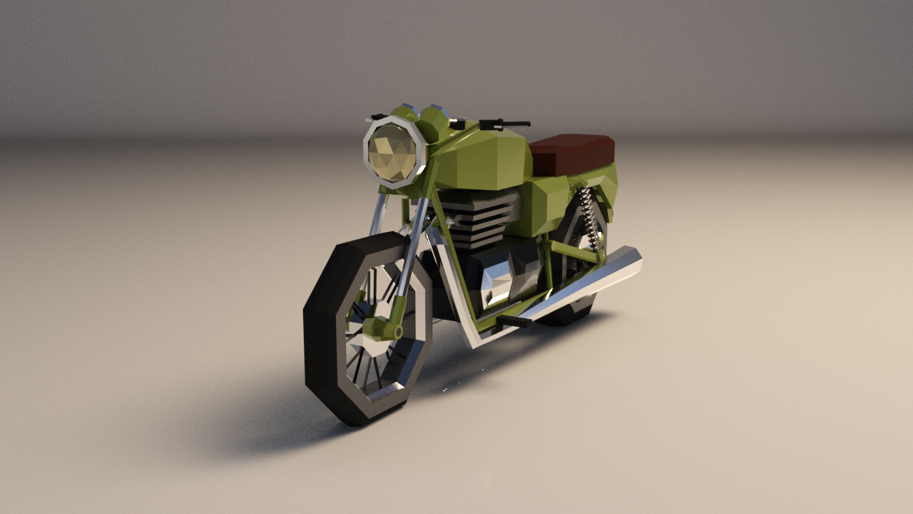Low-Poly Cartoon Motorcycle - Extended License