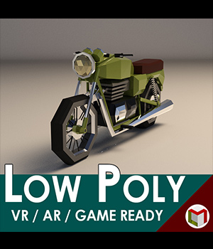 Low-Poly Cartoon Motorcycle - Extended License  3D Game Models : OBJ : FBX 3D Models Extended Licenses LinderMedia