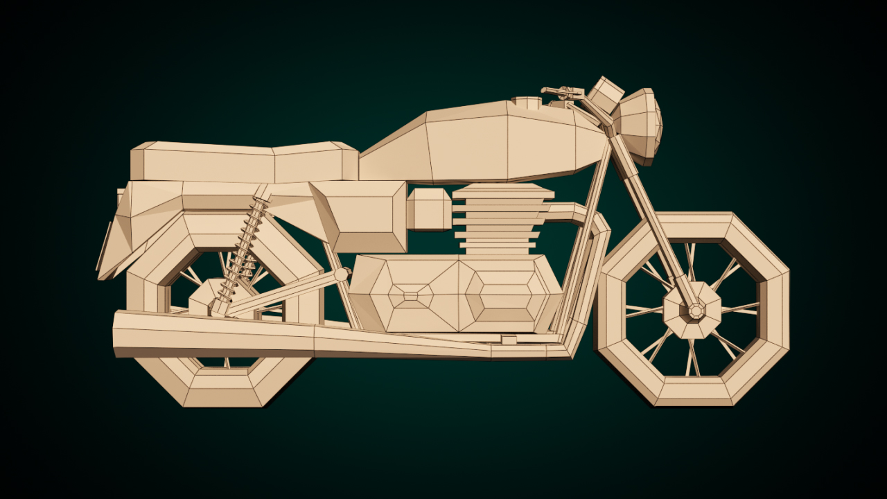 Low-Poly Cartoon Motorcycle - Extended License 3D Game Models : OBJ
