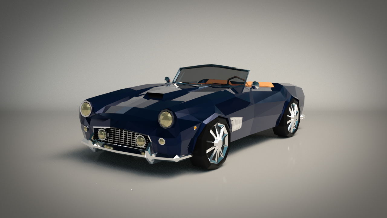 Low-Poly Cartoon Roadster  - Extended License