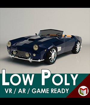 Low-Poly Cartoon Roadster  - Extended License  3D Game Models : OBJ : FBX 3D Models Extended Licenses LinderMedia