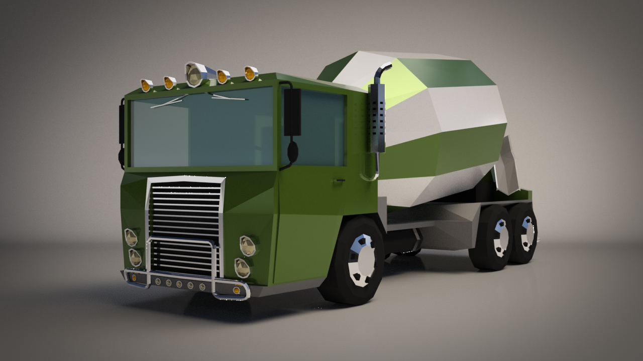 Low-Poly Cartoon Concrete Mixer Truck - Extended License