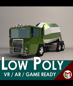 Low-Poly Cartoon Concrete Mixer Truck - Extended License  3D Game Models : OBJ : FBX 3D Models Extended Licenses LinderMedia
