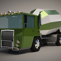 Low-Poly Cartoon Concrete Mixer Truck - Extended License  image 1