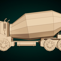 Low-Poly Cartoon Concrete Mixer Truck - Extended License  image 9