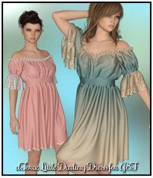 dForce - Little Darling Dress for G8F 3D Figure Assets Lully