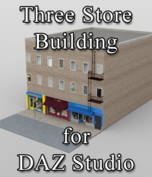 Three Store Building - for DAZ Studio  3D Models VanishingPoint