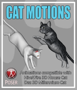 Cat Motions  for Poser 3D Figure Assets AnyMatter