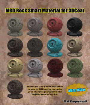 MGD Rock Smart Materials for 3DCoat 3D Figure Assets 2D Graphics mgdegenhardt