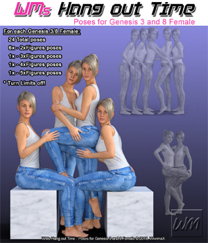 WMs Hang out Time - Poses for Genesis 3 and 8 Female 3D Figure Assets WiwimaX