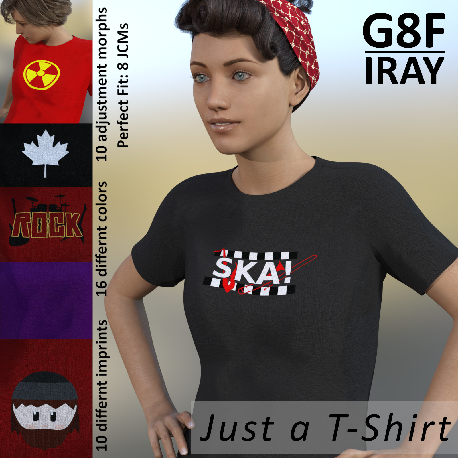 Just a T-Shirt for G8F Iray - Genesis 8 Female Shirt