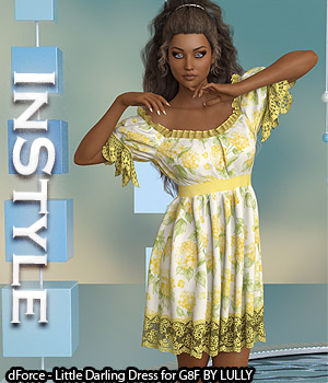 InStyle - dForce - Little Darling Dress for G8F 3D Figure Assets -Valkyrie-